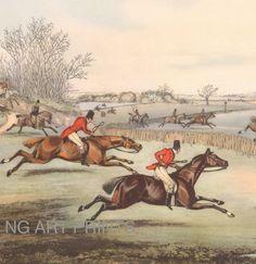 1800s Fishing Print, Antique British Sport, Henry Alken Art.
