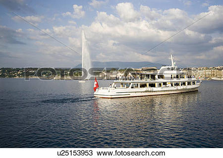 Stock Photo of water henry dunant sightseing boat in geneva lac.