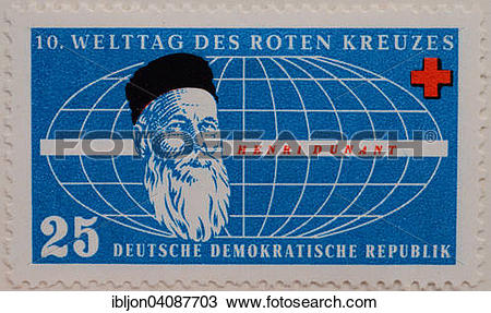 Stock Photo of Henry Dunant, portrait on a stamp for the 10th.