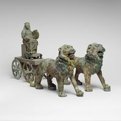 Etruscan, Bronze chariot inlaid with ivory, 2nd quarter of the 6th.