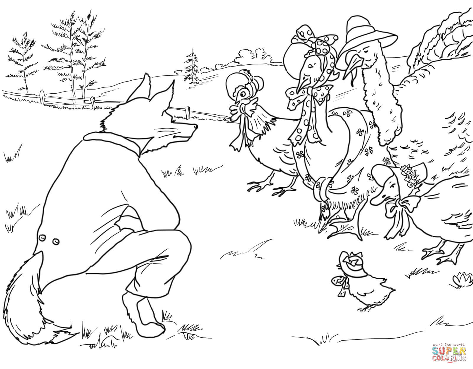 Birds and Fox from Henny Penny coloring page.