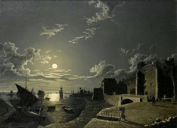 Harbour scene at moonlight by Henry Pether (1828.