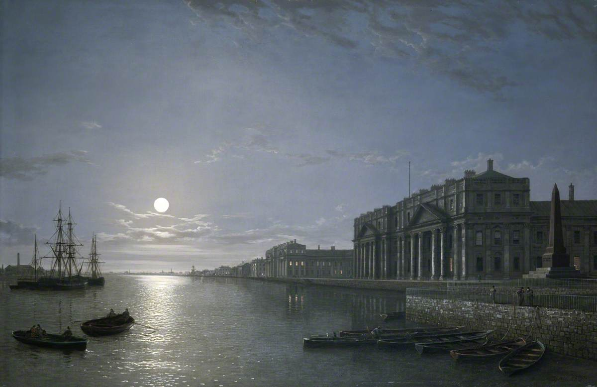 The Thames and Greenwich Hospital by Moonlight.