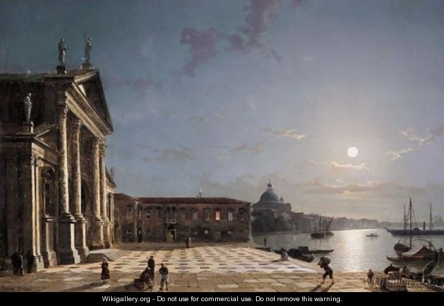Unloading Cargo From The Grand Canal, Venice, By Moonlight.
