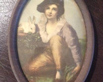 Items similar to Vintage Print Boy and Rabbit by Henry Raeburn on Etsy.