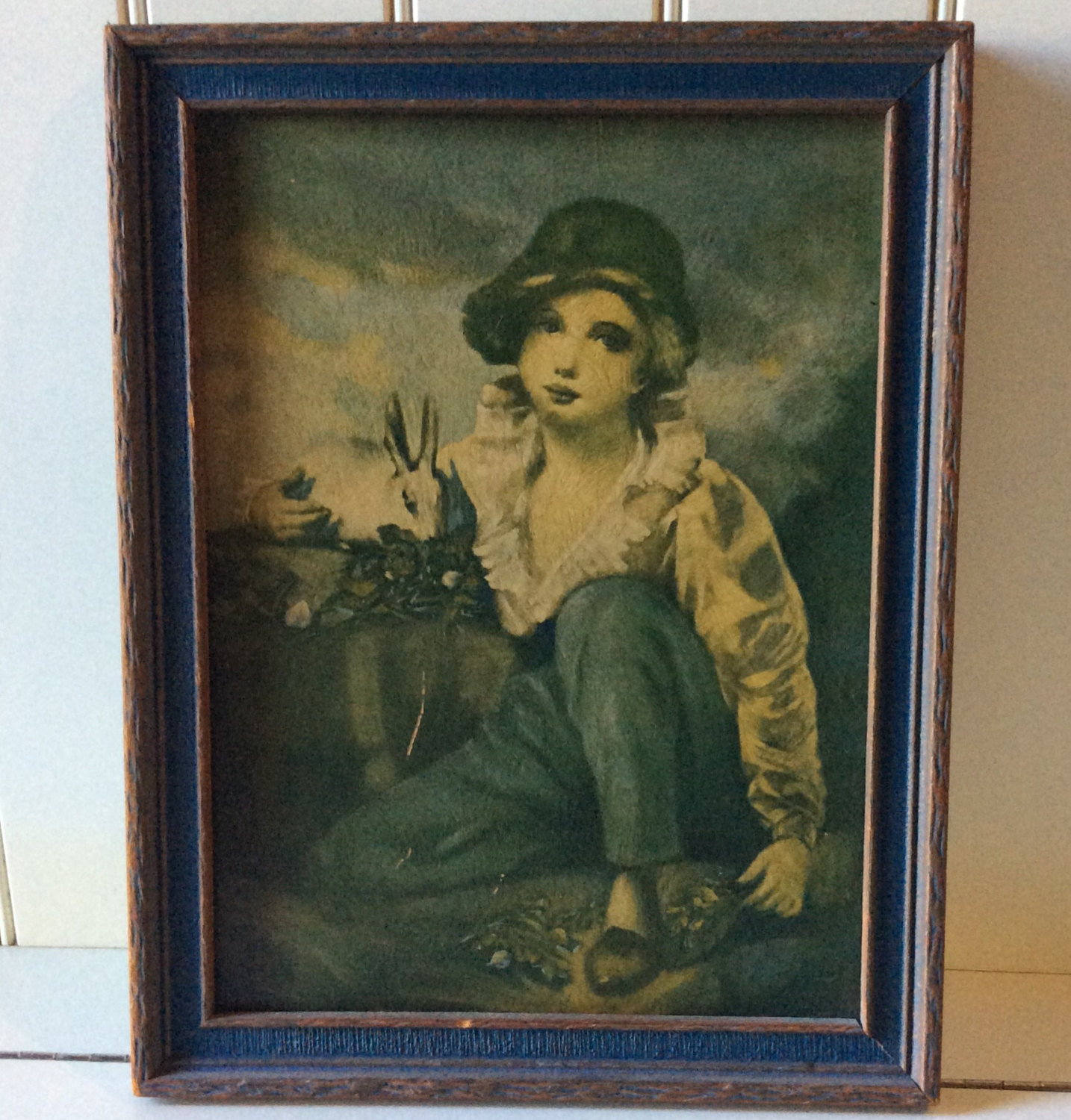 Items similar to Vintage Print Boy and Rabbit by Henry Raeburn on Etsy.