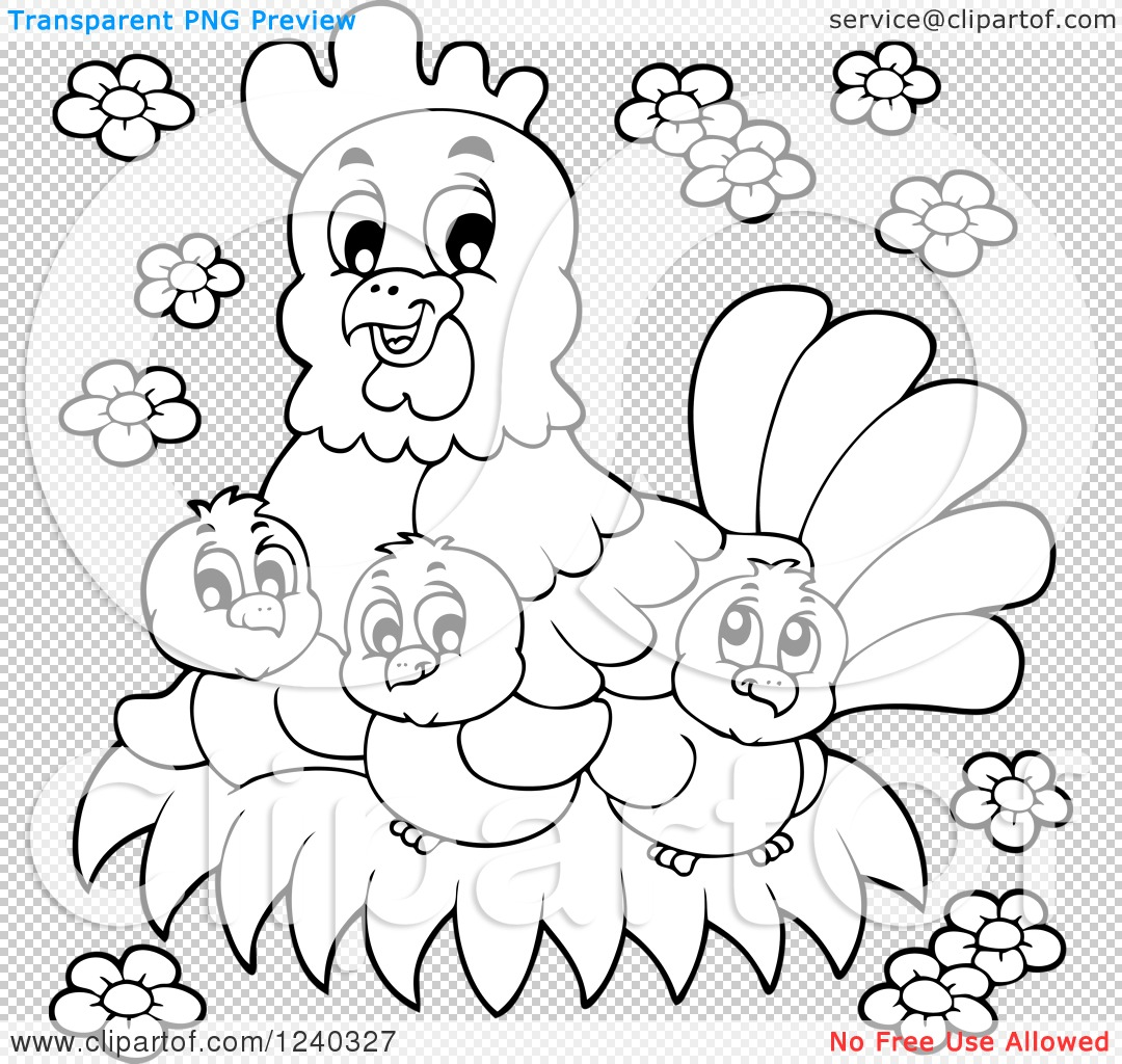 Clipart of a Black and White Happy Mother Hen and Chicks.