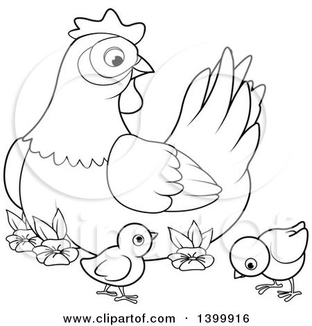 Mother hen chicks clipart.