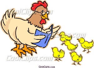 Mother hen with chicks Vector Clip art.