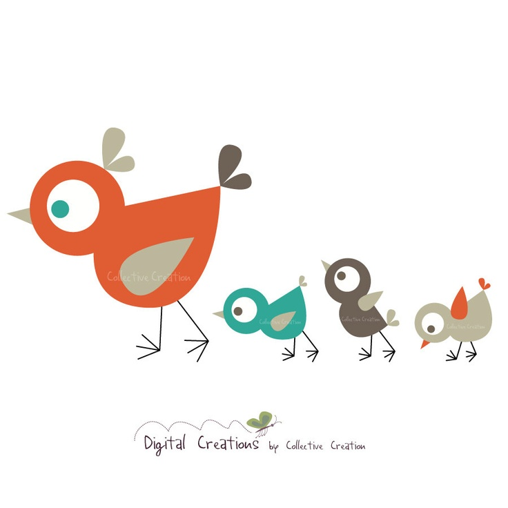 Mother hen with baby chicks clipart.