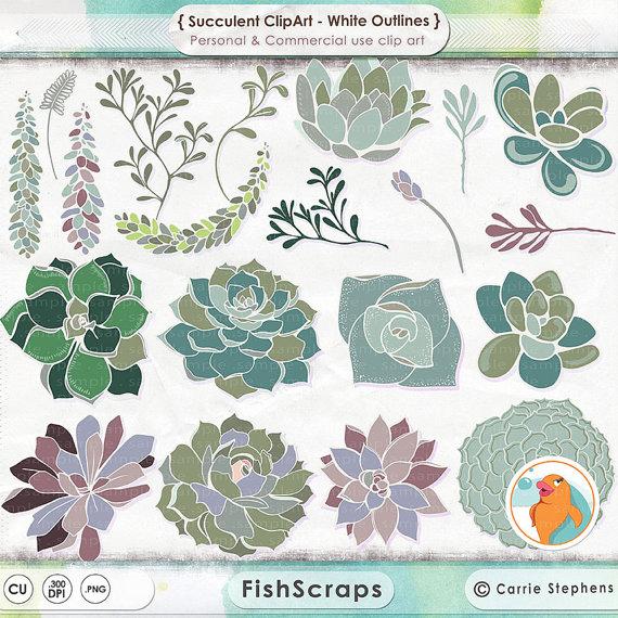 Succulent ClipArt Hens & Chicks Digital Clip Art by FishScraps.