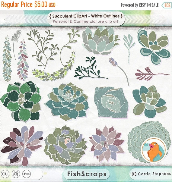 75% SALE Succulent ClipArt Hens & Chicks Digital Clip Art.