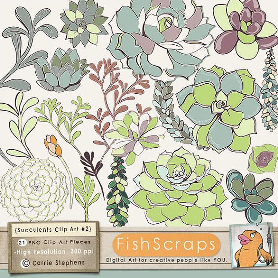 Succulent Flower Illustrations Clip Art, Hens & Chicks Floral.