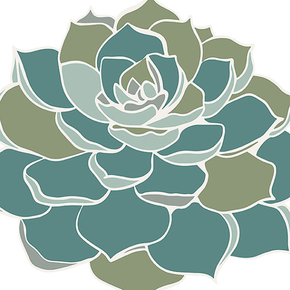 Succulent ClipArt Hens & Chicks Digital Clip Art by FishScraps.