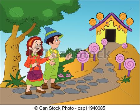 Vector of Hansel and Gretel, illustration.