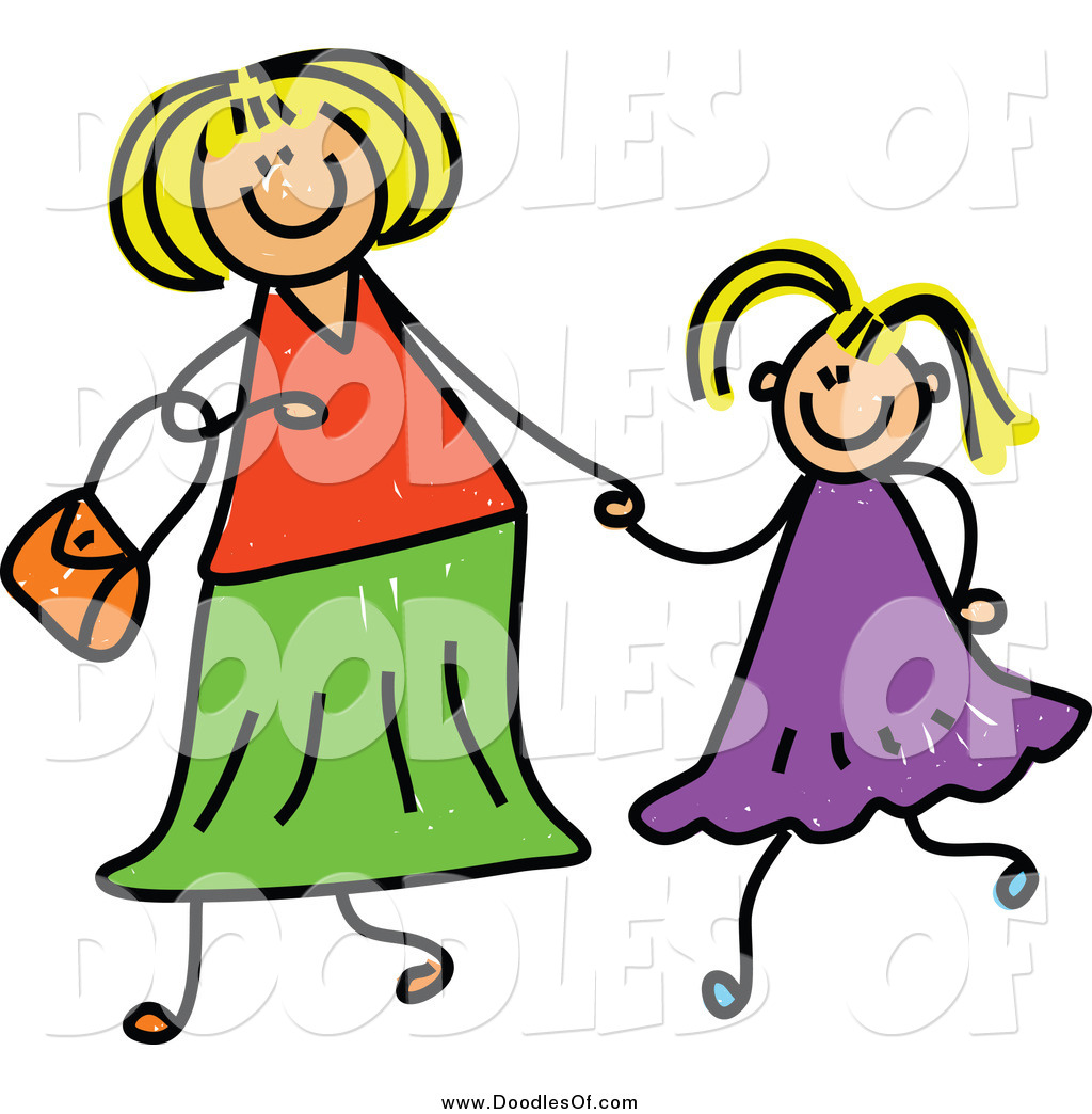 Vector Clipart of a Doodled Blond White Mother Holding Hand with.
