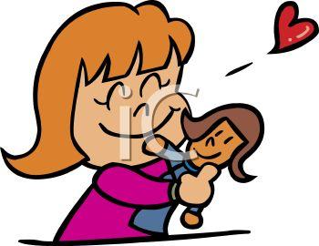 Little Girl Hugging Her Doll.