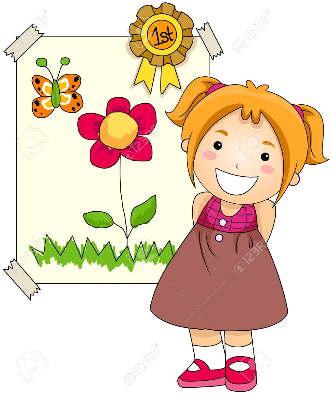 Girl With Award On Her Artwork Stock Photo, Picture And Royalty.