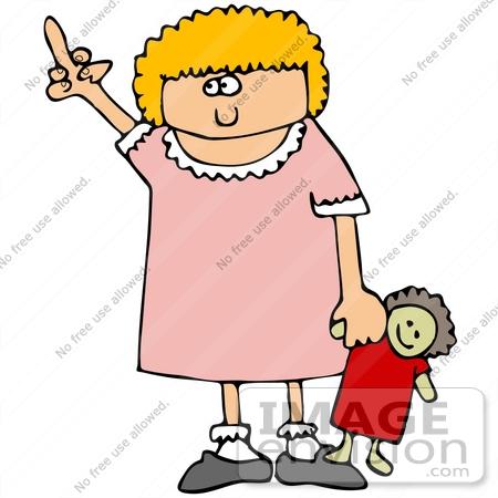 Clip Art Girl Holding Doll Clipart.