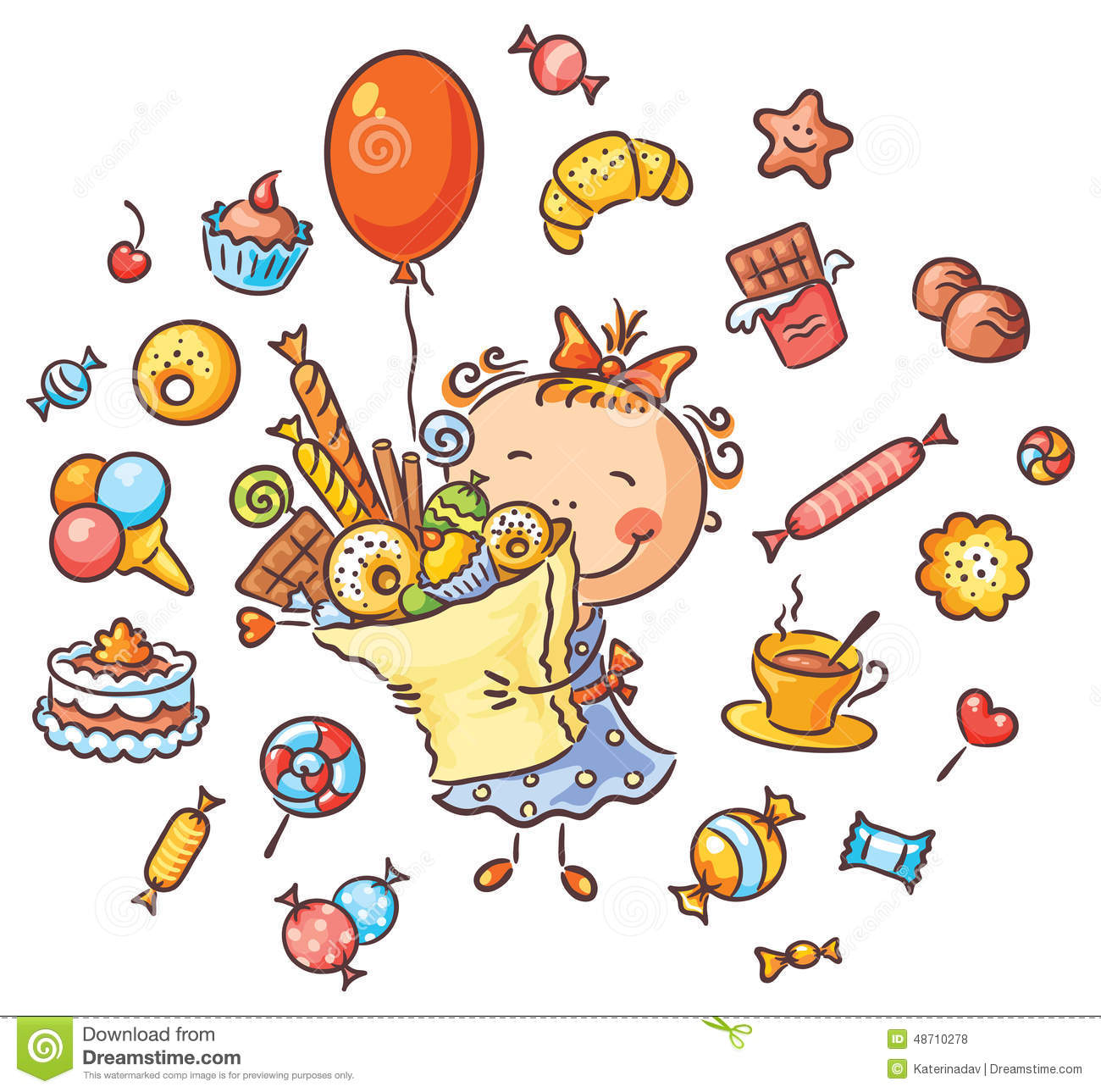 Happy Girl With Sweets Stock Vector.
