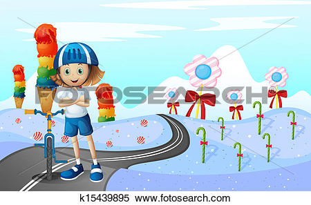Clipart of A girl and her bike at the street with sweets k15439895.