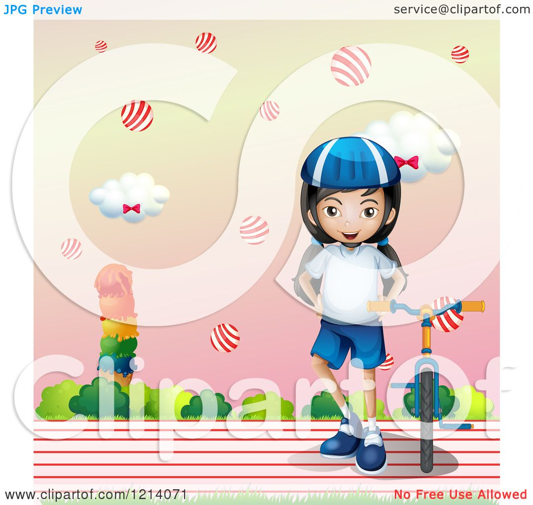 Cartoon of an Asian Girl Standing by Her Bike in a Land of Sweets.