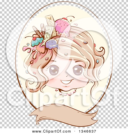 Clipart of a Retro Styled Dirty Blond Caucasian Girl with Ice.