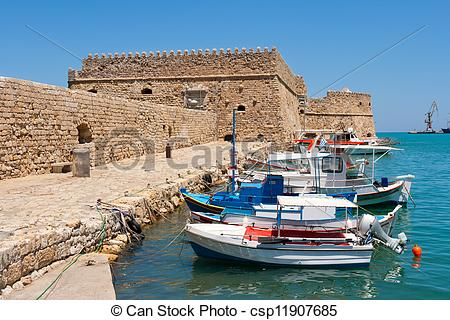 Pictures of Heraklion harbour and castle. Crete, Greece.
