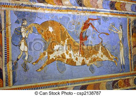 Picture of Frescos at the Archaeological Museum of Heraklion.