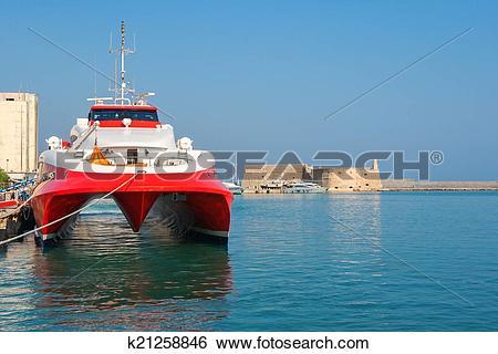 Stock Images of Catamaran ferry in port of Heraklion. Crete.