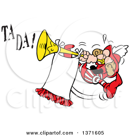 Cartoon of a Herald Blowing a Horn.