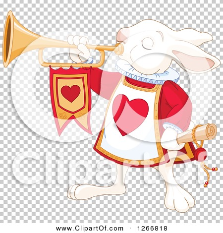 Clipart of the Alice in Wonderland White Rabbit Herald Announcing.