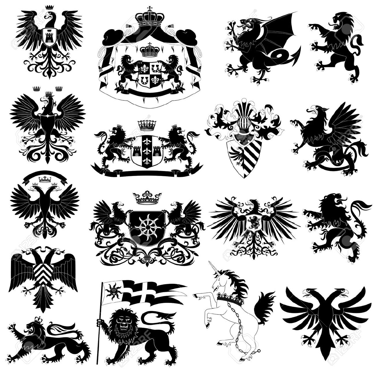 Coat Of Arms And Heraldic Animals Set Royalty Free Cliparts.
