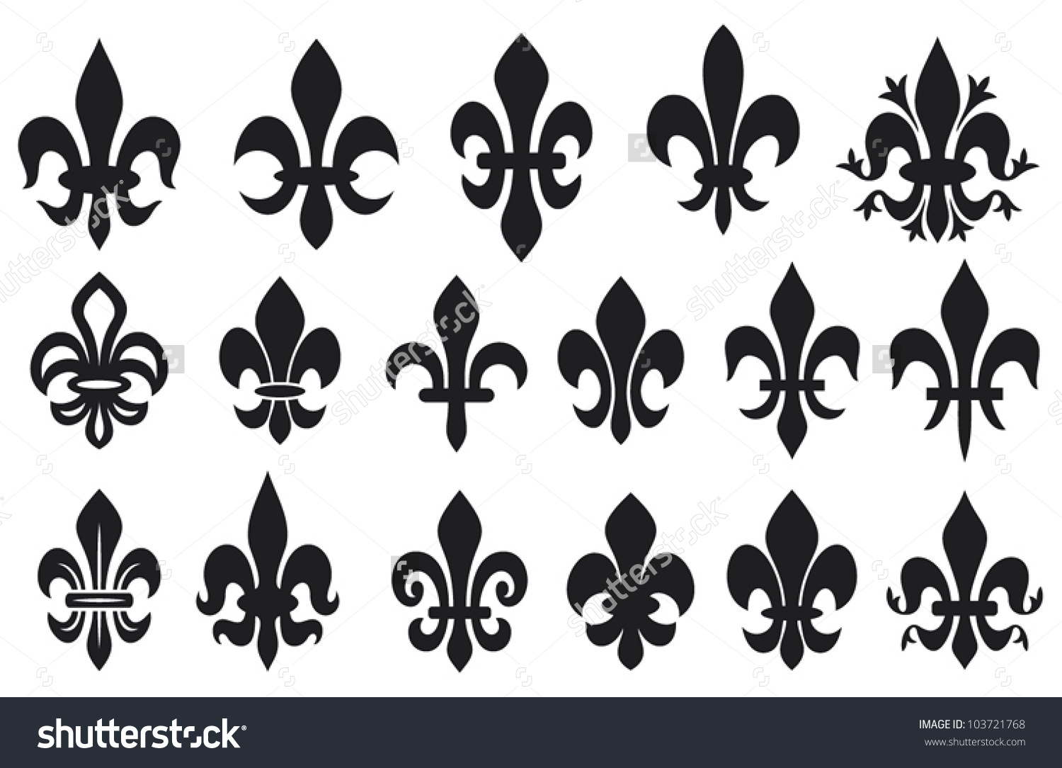 Lily Flower Collection Heraldic Symbols Stock Vector 103721768.