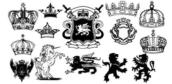 150+ Free, Vintage Vector, Medieval Heraldry Graphics.