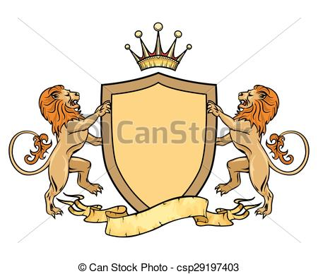 Vector Clipart of Heraldic lions with shield and ribbon. Emblem or.