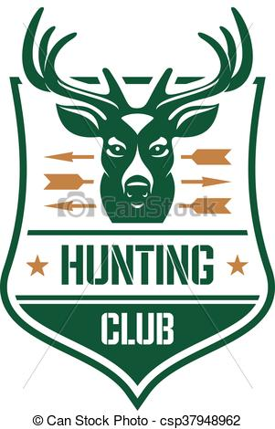 Clip Art Vector of Hunting club heraldic badge design with red.
