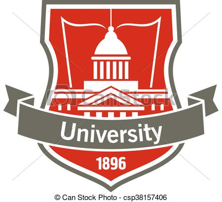 Vector Clipart of Education heraldic badge with university.
