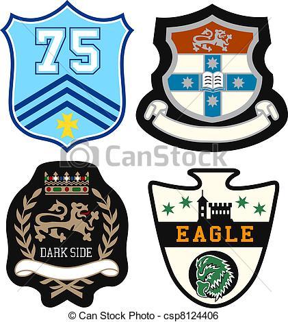 Clip Art Vector of heraldic royal emblem badge csp8124406.