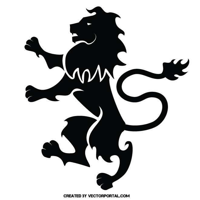 Heraldic lion vector silhouette..