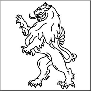 Clip Art: Heraldry: Heraldic Lion B&W I abcteach.com.