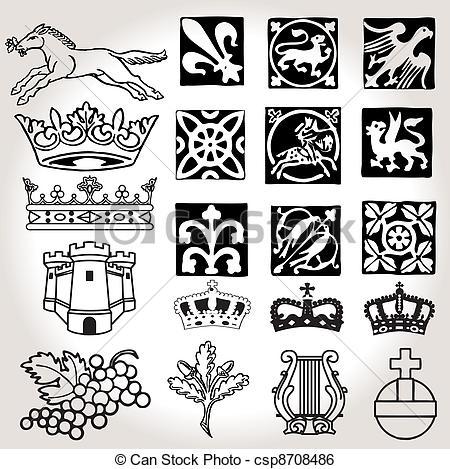 Heraldic symbols and elements.
