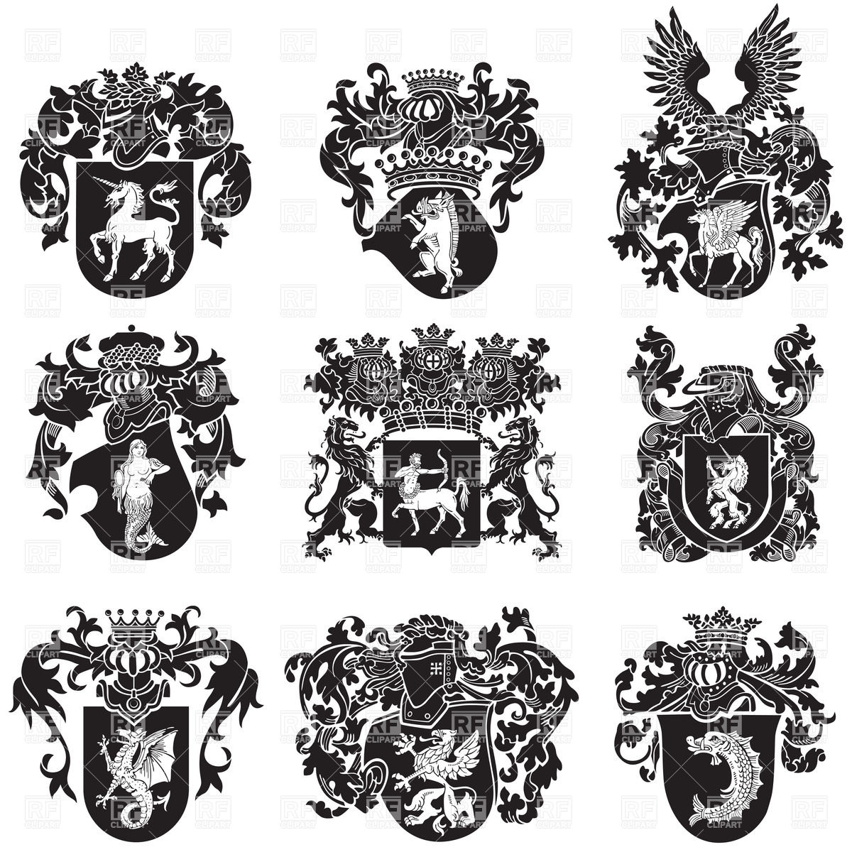 Black medieval heraldic emblems Stock Vector Image.