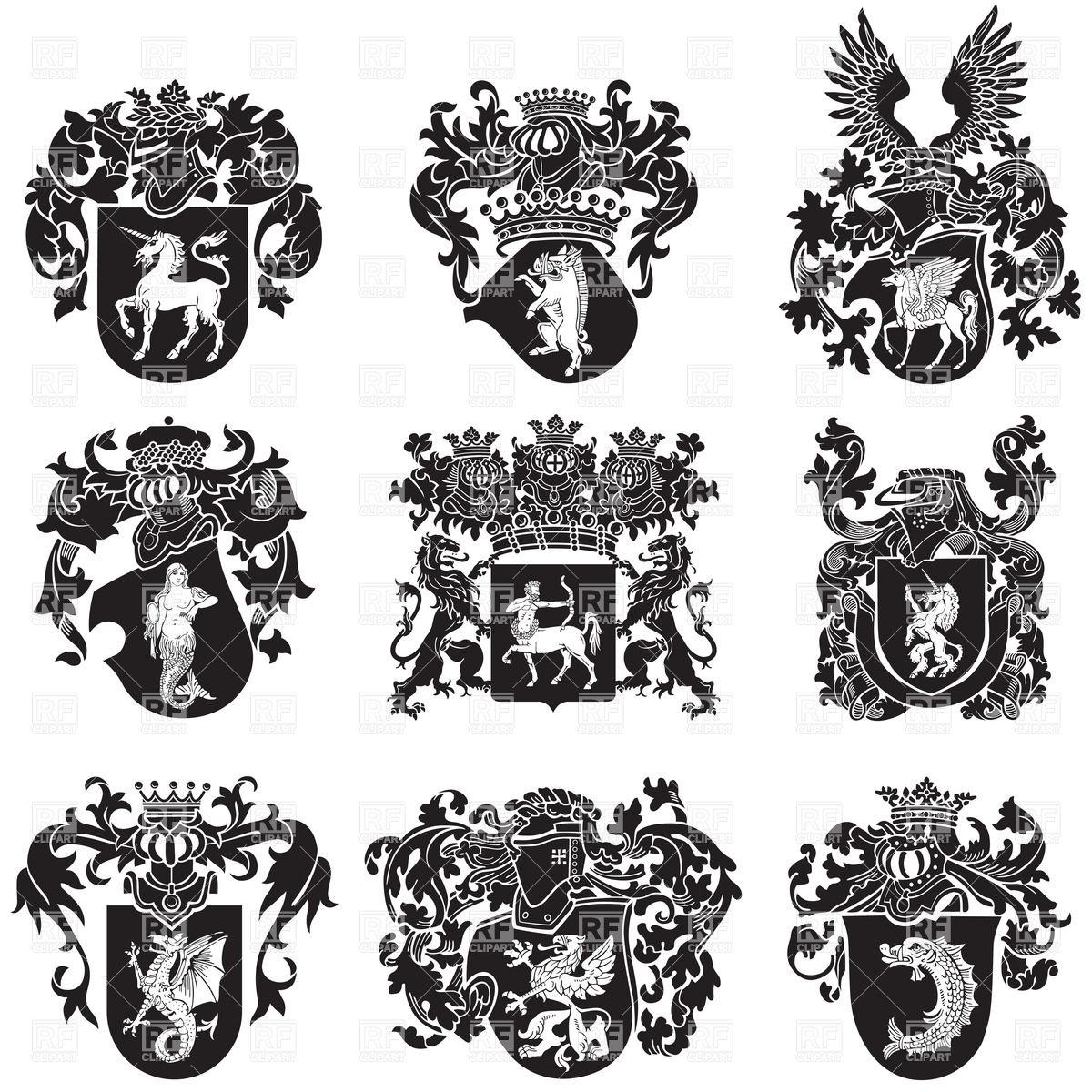 Black medieval heraldic emblems Stock Vector Image.