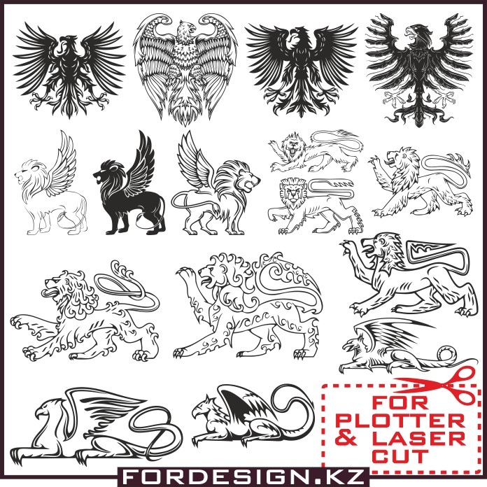 Animals in Heraldry Vector: Vector Clip Art Heraldic animals.