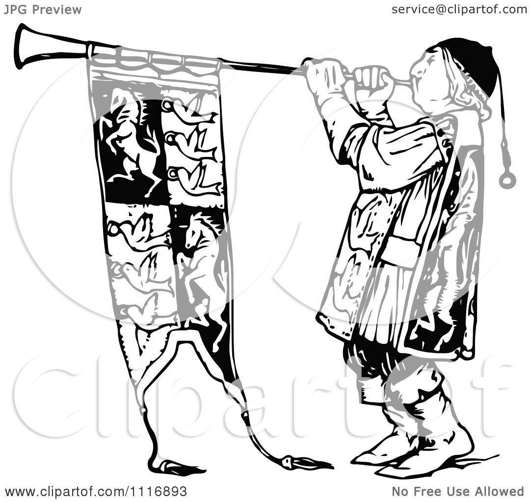 Clipart Of A Retro Vintage Black And White Herald Blowing A Horn.