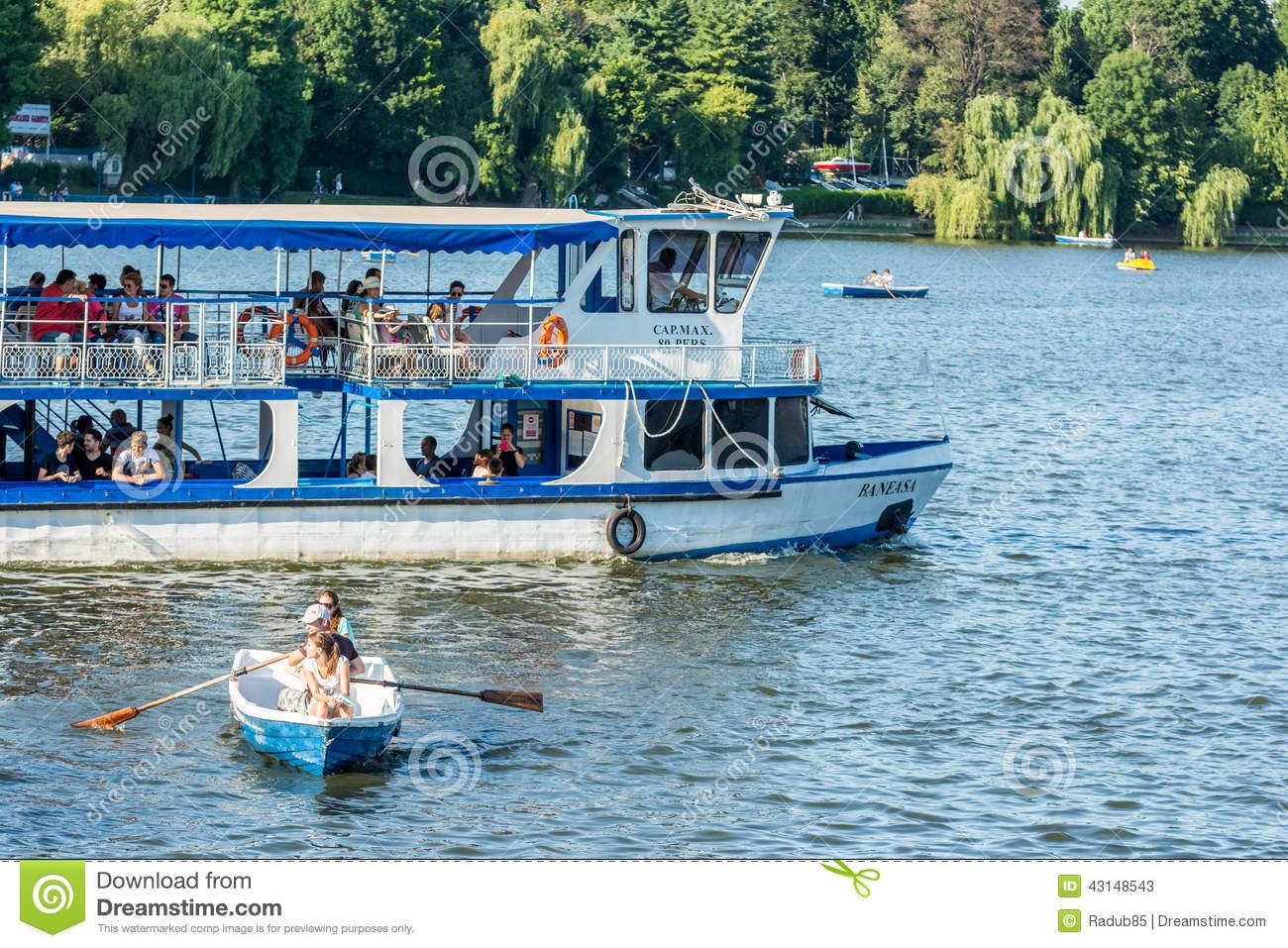 Ferry Boat Ride On Herastrau Lake Editorial Stock Photo.