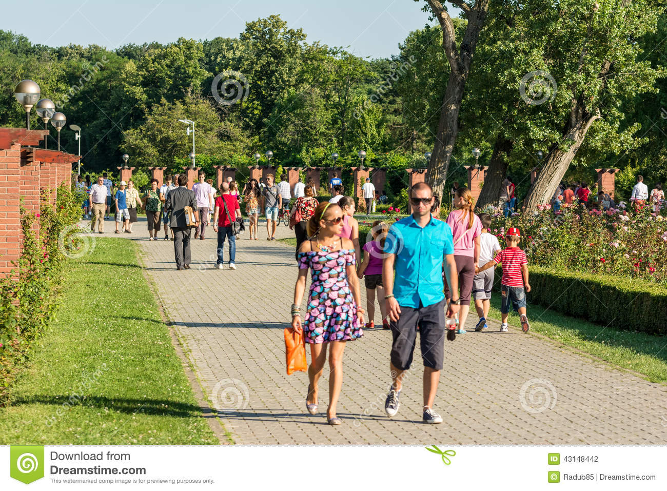 People Walking In Herastrau Public Park Editorial Photography.