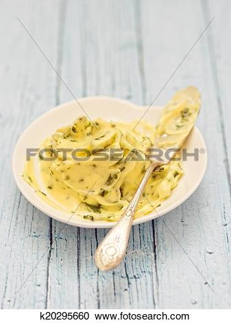 Stock Photography of rustic compound herb butter k20295660.