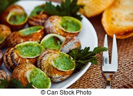Stock Photography of Escargots de Bourgogne.